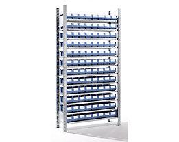 EUROKRAFT Rayonnage emboîtable avec bacs - 96 bacs, 12 tablettes, profondeur 336 mm