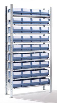 EUROKRAFT Steckregal mit Regalkästen - 36 Kästen, 9 Fachböden, Tiefe 336 mm