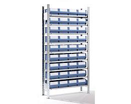EUROKRAFT Rayonnage emboîtable avec bacs - 36 bacs, 9 tablettes, profondeur 336 mm