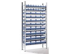 EUROKRAFT Rayonnage emboîtable avec bacs - 48 bacs, 10 tablettes, profondeur 336 mm