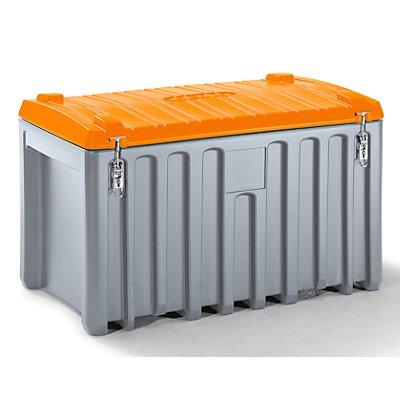 CEMO Malle universelle en polyéthylène - capacité 400 l, charge max. 250 kg - gris / orange