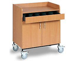 Chariot de serveur - tiroir à couverts, 2 portes, 1 tablette