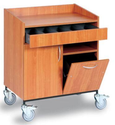 Service- und Kellnerstation - Besteckschublade, Abfallbehälter, 1 Fachboden - Dekor Buche