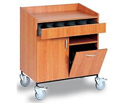 Chariot de serveur - tiroir à couverts, poubelle, 1 tablette