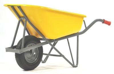 PROFIMAX Schubkarre - Fassungsvermögen 90 l - gelb, Blockprofilreifen