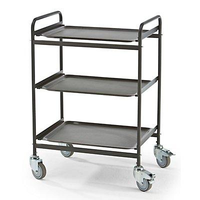 Servierwagen - 3 Tabletts abnehmbar - metallschwarz / granit