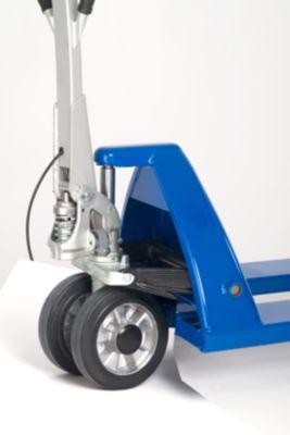 EUROKRAFT Paletthubwagen - Gabelrollen Nylon, Tandem, mit Fahr- und Feststellbremse - Kugellager