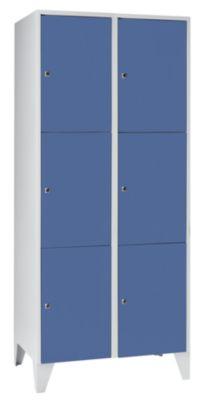 Schließfachschrank - 2 Abteile, 6 Fächer Breite 800 mm,