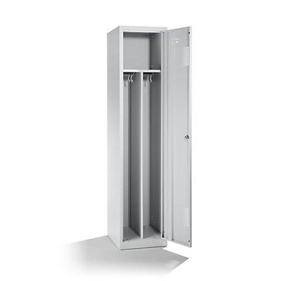 QUIPO Stahlspind, mit Zylinderschloss - 1 Hutboden, 1 Mitteltrennwand, 2 Kleiderstangen