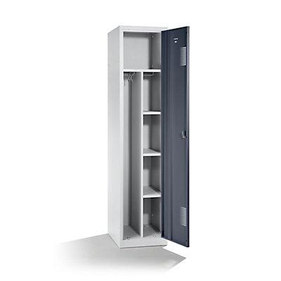 QUIPO Stahlspind, mit Zylinderschloss - 1 Hutboden, 1 Mitteltrennwand, 1 Kleiderstange, 3 Fachböden