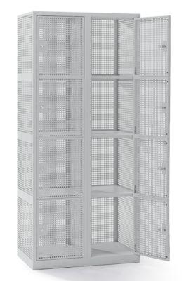 QUIPO Lochblechspind - Abteil 400 mm, 8 Fächer, Zylinderschloss