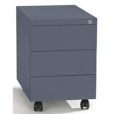 QUIPO Rollcontainer, Stahl - 1 Stiftschale, 3 Materialschübe - Tiefe 590 mm, lichtgrau