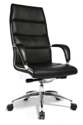 Design-Chefsessel CHAIRMAN - elegante Optik durch Nappa-Leder und Stahl - schwarz