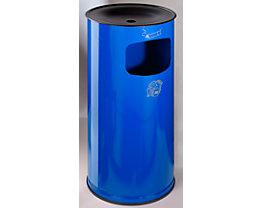 Sicherheits-Kombiascher, Stahlblech - Höhe 710 mm, Abfallvolumen 44 l - enzianblau