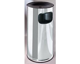 Edelstahl-Standascher mit Abfallbehälter - Höhe 710 mm