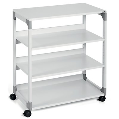 table pour imprimante et de rangement passe partout de durable 4 tablettes gris clair. Black Bedroom Furniture Sets. Home Design Ideas