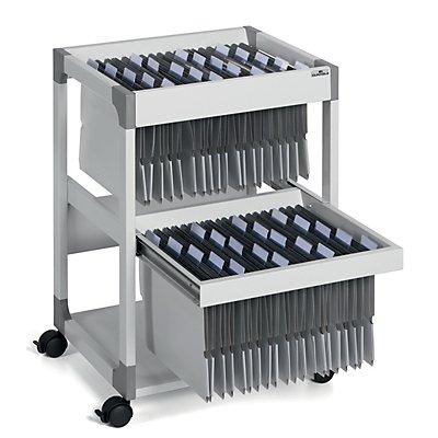 Hängemappenwagen MULTI DUO von Durable - für 80 Mappen, 2 Etagen mit Auszug - lichtgrau