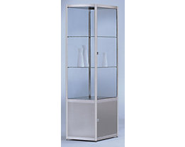 Vitrine compartimentée INSIDE - forme carrée, 2 tablettes, armoire inférieure