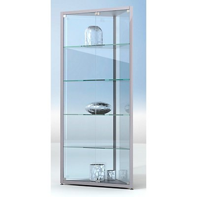 BST INSIDE Eckvitrine - 4 Böden, 3-seitig verglast - HxBxT 1820 x 585 x 585 mm