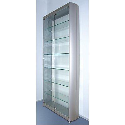 INSIDE Ellipsenvitrine - 6 Böden, 2-seitig verglast - HxBxT 1820 x 829 x 230 mm