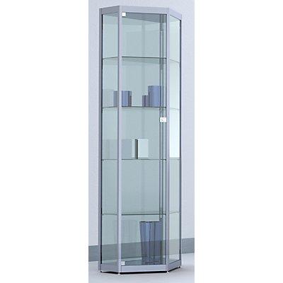 BST INSIDE Spitzeckvitrine - 4 Böden, Spiegelrückwand - HxBxT 1820 x 620 x 410 mm