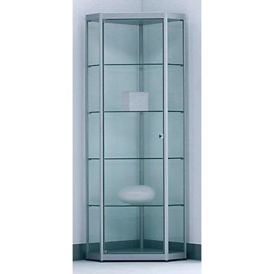 BST INSIDE 5-Eckvitrine - 4 Böden, mit Spiegelrückwand - HxBxT 1820 x 525 x 525 mm