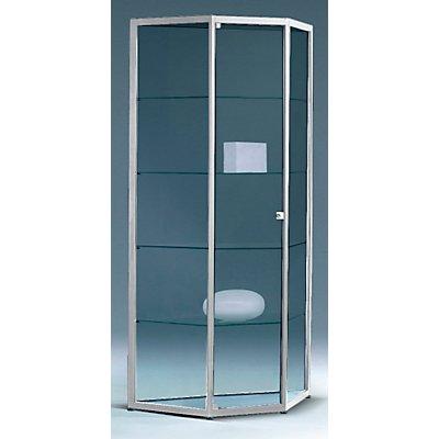 INSIDE Trapezvitrine - 4 Böden, mit Spiegelrückwand - HxBxT 1820 x 953 x 286 mm