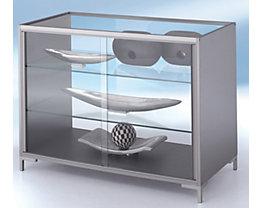 Vitrine comptoir LINK - entièrement vitré, 2 tablettes