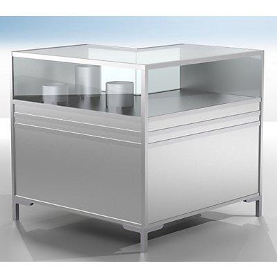 BST LINK Theken-Eckvitrine - 1/3 verglast - HxBxT 900 x 1000 x 1000 mm