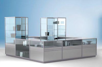 LINK Theken-Eckvitrine - 1/3 verglast - HxBxT 900 x 1000 x 1000 mm
