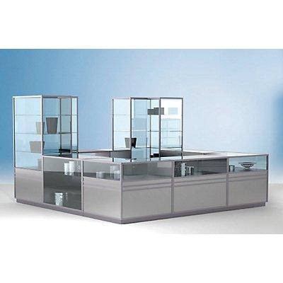 LINK Vitrinen-Säulenmodul - 2/3 verglast, 3 Böden - HxBxT 1900 x 600 x 600 mm
