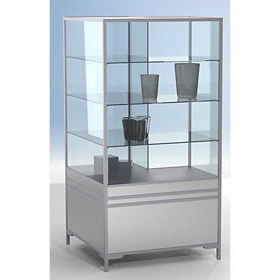 BST LINK Vitrinen-Eckmodul - 2/3 verglast, 3 Böden - HxBxT 1900 x 1000 x 1000 mm