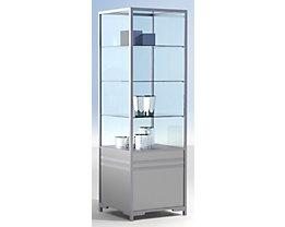Vitrine colonne modulaire LINK - vitré aux 2/3, 3 tablettes