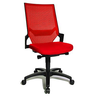 Topstar Operator-Drehstuhl mit Muldensitz - Gestell schwarz, Rückenlehne Netz - rot