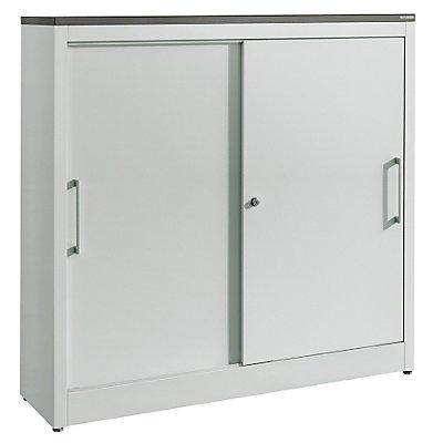 Schiebetürenschrank ARCOS - 2 Fachböden, HxBxT 1240 x 1200 x 420 mm - weißalu / reinweiß