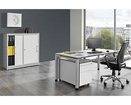 Bureau complet ARCOS - bureau, armoire à portes coulissantes, caisson roulant à 3 tiroirs
