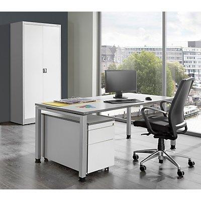 mauser Komplettbüro ARCOS - Schreibtisch, Flügeltürschrank, Rollcontainer mit 3 Schüben - weißalu / reinweiß