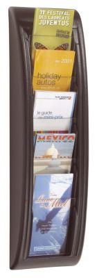 Wandprospekthalter - 5 Fächer für Format 1/3 DIN A4 - schwarz, VE 2