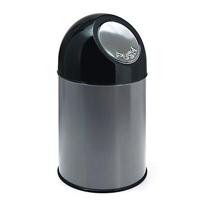 Collecteur de déchets PUSH - tôle d'acier, capacité 33 l, seau intérieur galvanisé