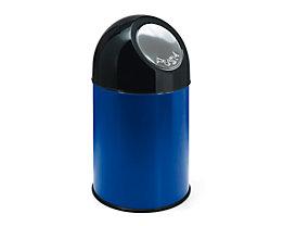 Abfallsammler PUSH - aus Stahlblech, ohne Innenbehälter, Volumen 33 Liter - blau