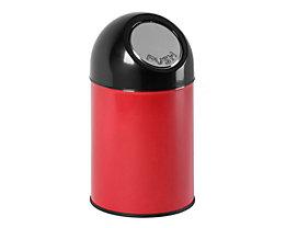 Abfallsammler PUSH - aus Stahlblech, ohne Innenbehälter, Volumen 33 Liter - rot