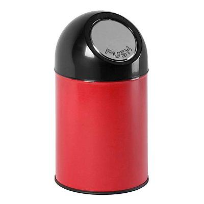 Abfallsammler PUSH - aus Stahlblech, ohne Innenbehälter, Volumen 33 Liter