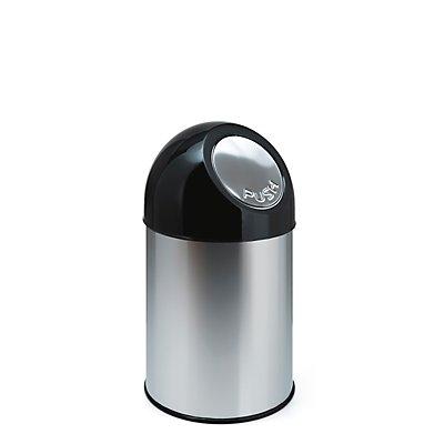 Collecteur de déchets PUSH - inox, capacité 33 l, sans seau intérieur - inoxydable