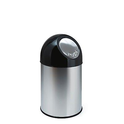 Abfallsammler PUSH - aus Edelstahl mit 33 Liter Volumen, Innenbehälter verzinkt - rostfrei
