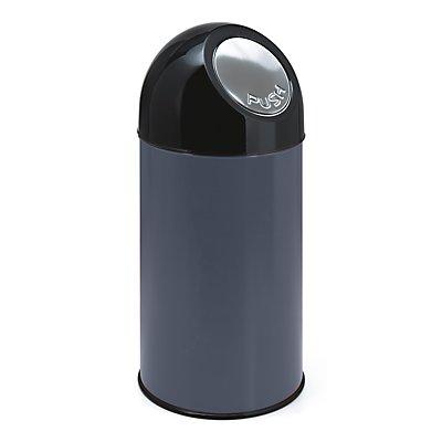 Collecteur de déchets PUSH - tôle d'acier, capacité 40 l, seau intérieur galvanisé