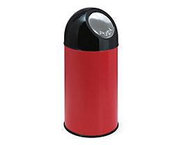 PUSH Abfallsammler - ohne Innenbehälter, aus Stahlblech, Volumen 40 Liter - rot