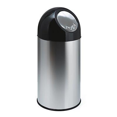 Collecteur de déchets PUSH - inox, capacité 40 l, sans seau intérieur - inoxydable