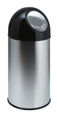 Abfallsammler PUSH - mit 40 Liter Volumen, aus Edelstahl, Innenbehälter verzinkt - rostfrei