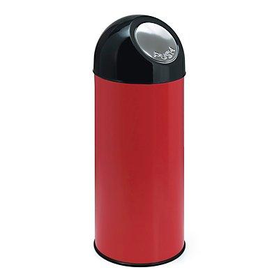 Abfallsammler PUSH - aus Stahlblech mit 55 Litern Volumen, ohne Innenbehälter
