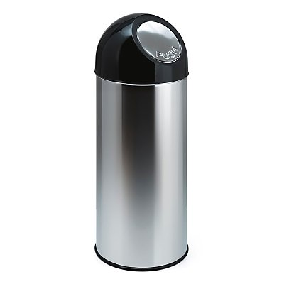 Abfallsammler PUSH - aus Edelstahl, mit 55 Liter Volumen, Innenbehälter verzinkt - rostfrei